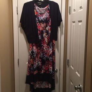 3x Floral high low dress with navy lace sweater